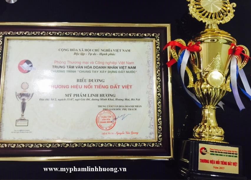 Mỹ phẩm Linh Hương đạt danh hiệu Thương Hiệu Nổi Tiếng Đất Việt